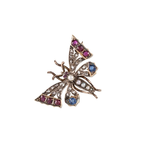 365 - A VICTORIAN RUBY SAPPHIRE AND DIAMOND BUTTERFLY BROOCH, weight 7.6 grams....