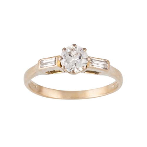 382 - A DIAMOND SOLITAIRE RING, with one round brilliant cut diamond of approx 0.44ct and baguette diamond...