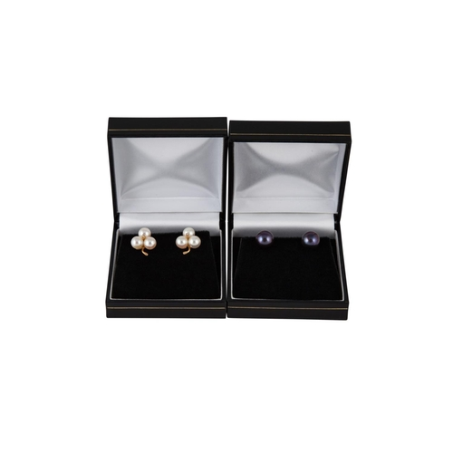 405 - A PAIR OF CULTURED PEARL AND DIAMOND EARRINGS, together with a pair of black cultured pearl earrings...
