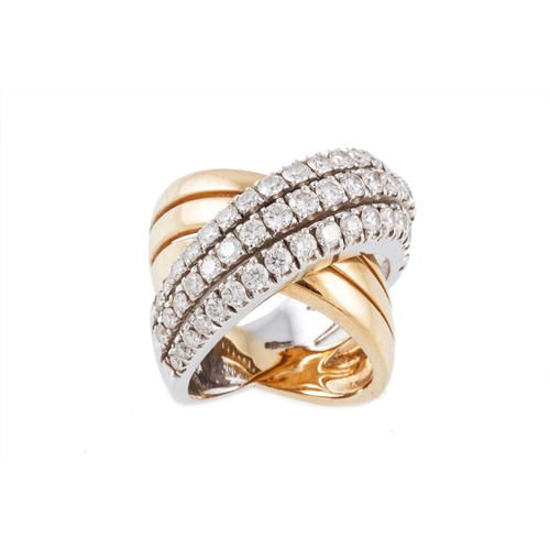 417 - AN 18CT YELLOW AND WHITE GOLD DIAMOND CROSSOVER DRESS RING, with diamonds of approx. 2.50ct, size N...
