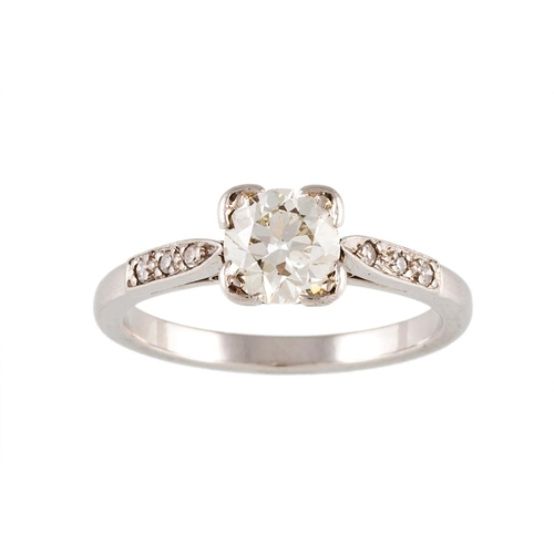 421 - A SOLITAIRE DIAMOND RING, with old cut diamond of approx. 0.98ct, J VS, Size; L...