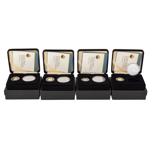 474 - FOUR IRISH 2003 €20 GOLD AND €10 SILVER TWO COIN PROOF SETS, boxed with COAs...