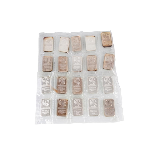 488 - TWENTY ONE TROY OZ SILVER INGOTS 328 GRAMS,  All .999 fine from North West Territories Mint, Washing...