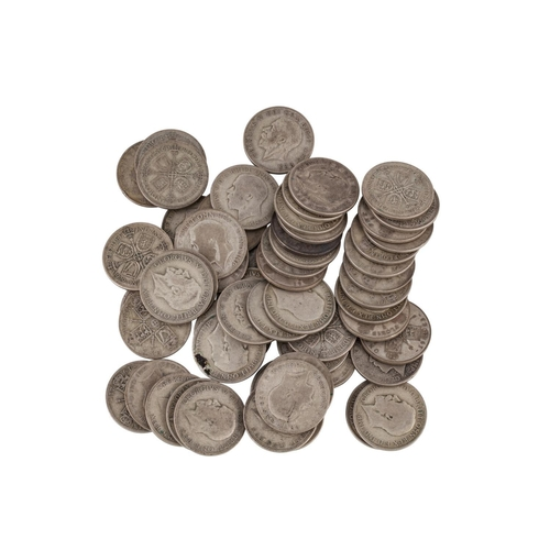 491 - A COLLECTION OF 58 SILVER GEORGE V ENGLISH FLORINS 1920-1936, 50% silver, 410 grams, VG to Fine....