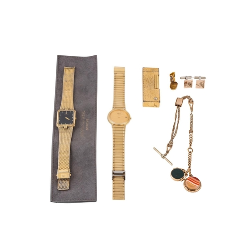 498 - A DUNHILL GOLD PLATED LIGHTER, an antique gold swivel fob, an Edwardian stone set fob and chain, gol...