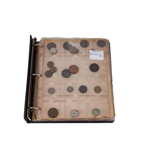 502 - AN OLD ALBUM WITH IRISH AND ENGLISH PRE DECIMAL COINS, including forty Irish silver and various othe...
