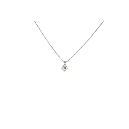 52 - A DIAMOND SOLITAIRE PENDANT, the brilliant cut diamond mounted in 18ct white gold. Estimated; weight...