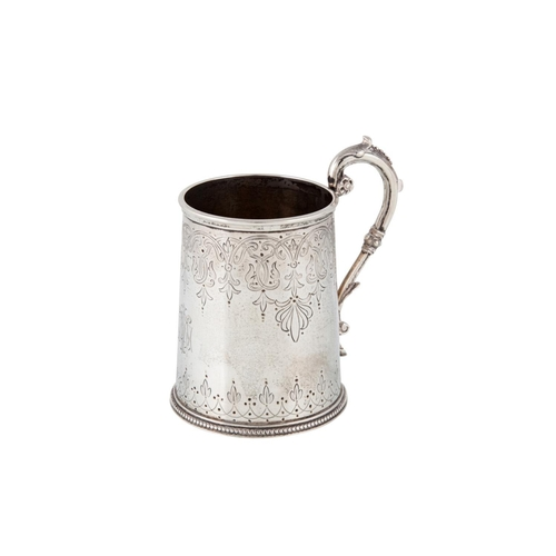 527 - A VICTORIAN SILVER CHRISTENING MUG, with formal engraved decoration, London 1867, by Alexander Macra...