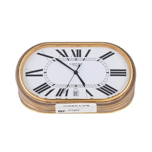 588 - A MODERN CARTIER (PARIS) QUARTZ DESK CLOCK, burnished metal and brass case, white face, Roman numera...