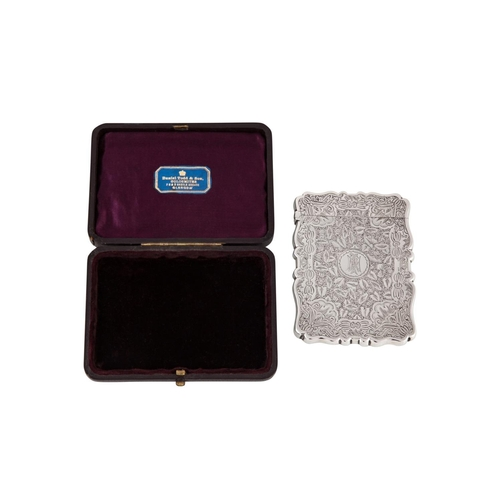 589 - AN EDWARDIAN SILVER CIGARETTE CASE, gilded interior, with chased and engraved decoration, Birmingham...