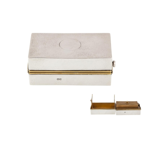 590 - AN UNUSUAL GEORGE V SILVER CASED GENTLEMANS TRAVELLING HEATER FOR MUSTACHE TONGS, Chester 1910. (Ple...