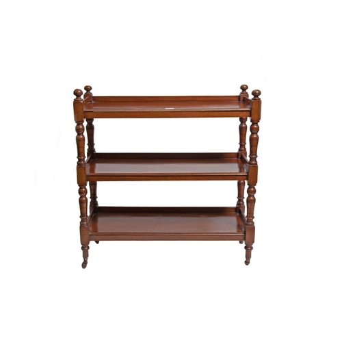 607 - A RECTANGULAR MAHOGANY THREE TIERED DUMBWAITER, turned legs terminating with four brown ceramic cast...
