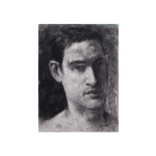 615 - NOEL MURPHY (N. Irish, Contemporary), Untitled portrait of a man, charcoal and mixed media, 8'' x 10...