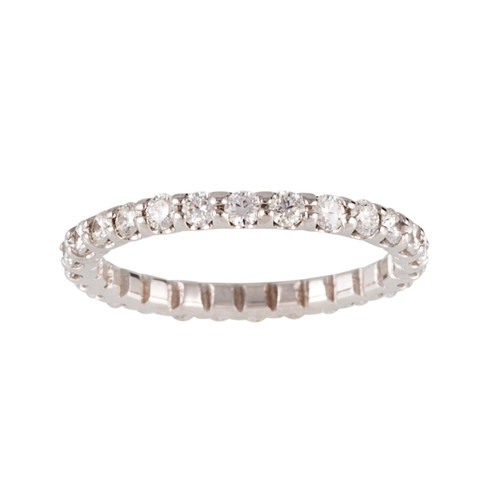 62 - A FULL BANDED DIAMOND ETERNITY RING, the brilliant cut diamonds mounted in 18ct white gold. Estimate...