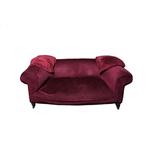 620 - A VICTORIAN ROLL BACK SETTEE, maroon upholstered...