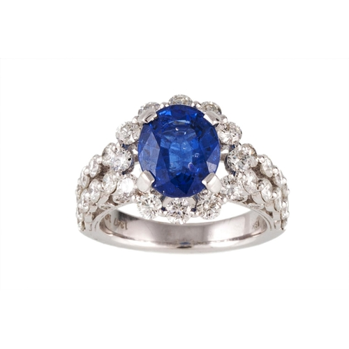 72 - A SAPPHIRE AND DIAMOND CLUSTER RING, the oval sapphire to a brilliant cut diamond surround, diamond ...