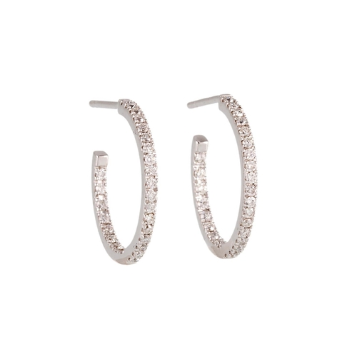 75 - A PAIR OF DIAMOND HOOP EARRINGS, the brilliant cut diamonds mounted in 18ct white gold...