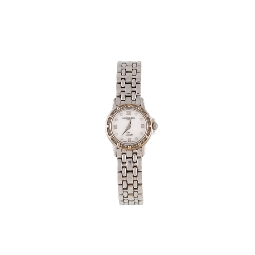 83 - A LADY'S STAINLESS STEEL RAYMOND WEIL WRIST WATCH, mother of pearl dial, diamond dot numerals, brace...