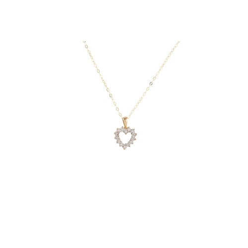 95 - A DIAMOND SET PENDANT, modelled as a heart, mounted in yellow gold, on a yellow gold chain...