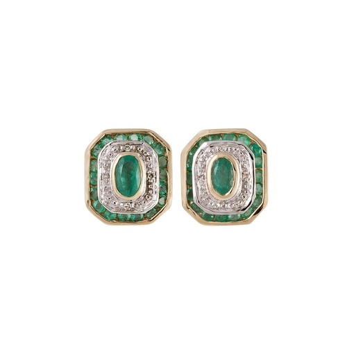 1 - A PAIR OF DIAMOND AND EMERALD CLUSTER EARRINGS, mounted in white gold...
