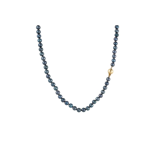 14 - A SINGLE STRANDED BLACK CULTURED PEARL NECKLACE, gold ball clasp, 17''...