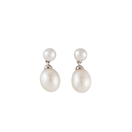 16 - A PAIR OF PEARL EARRINGS, mounted in white gold, together with a matching pendant, chain 18''...