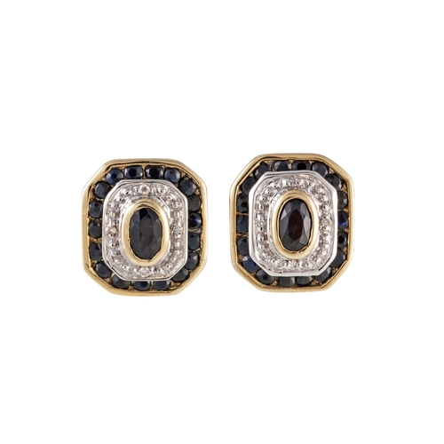 17 - A PAIR OF DIAMOND AND SAPPHIRE EARRINGS, of plaque design, mounted in yellow gold...