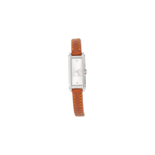 19 - A LADY'S GUCCI WRIST WATCH, brown leather strap, boxed...