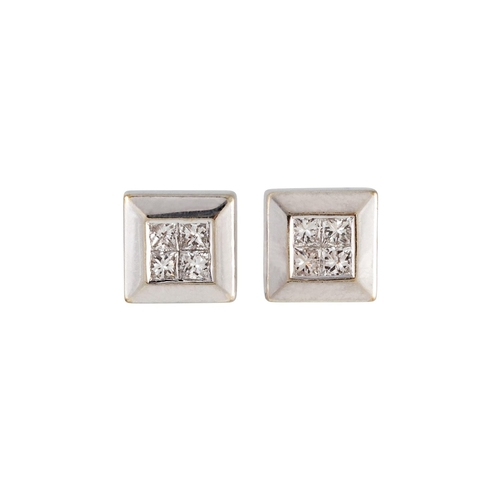 2 - A PAIR OF DIAMOND CLUSTER EARRINGS, set with princess cut diamonds, mounted in white gold. Estimated...