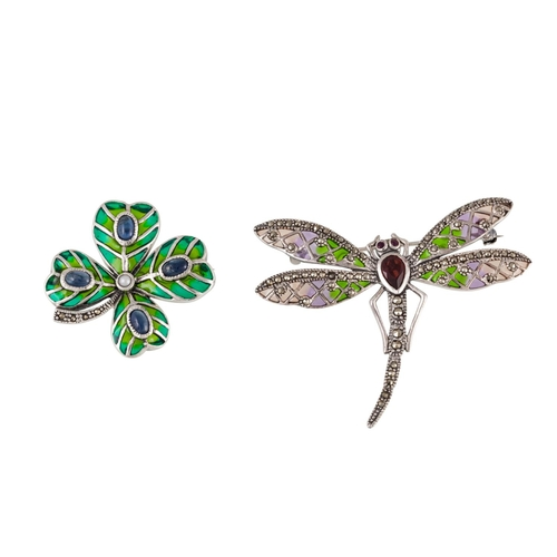 22 - TWO SILVER BROOCHES, modelled as a four leaved clover and a dragonfly...