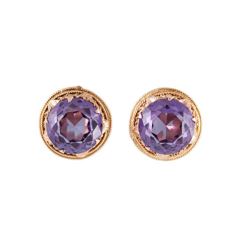23 - A PAIR OF CORUNDUM EARRINGS, clip on fittings, mounted in 14ct gold...