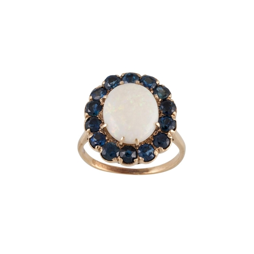 25 - A SAPPHIRE AND OPAL DRESS RING, mounted in gold, size M - N...