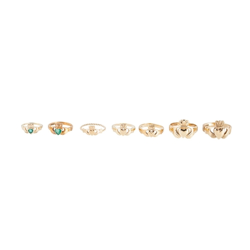 27 - A COLLECTION OF 9CT GOLD CLADDAGH RINGS, various sizes, 20 g...
