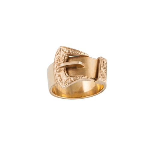 30 - A 9CT GOLD BUCKLE RING, 10 g, size S...