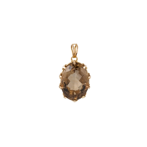 32 - A TOPAZ PENDANT, the large topaz set in 18ct gold. Estimated; weight of topaz 50.00 ct...