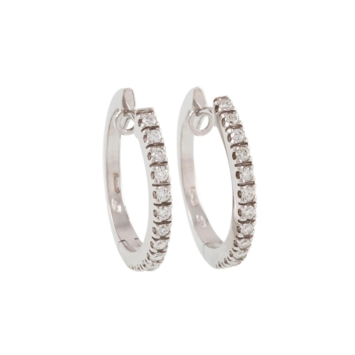 48 - A PAIR OF DIAMOND SET EARRINGS, mounted in white gold...