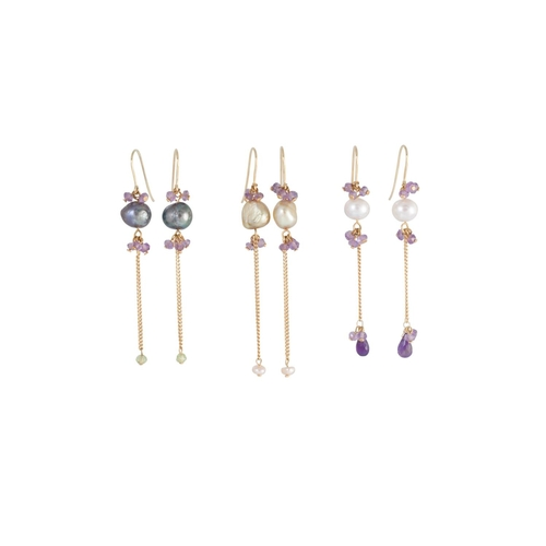 49 - THREE PAIRS OF EARRINGS, gold fittings...