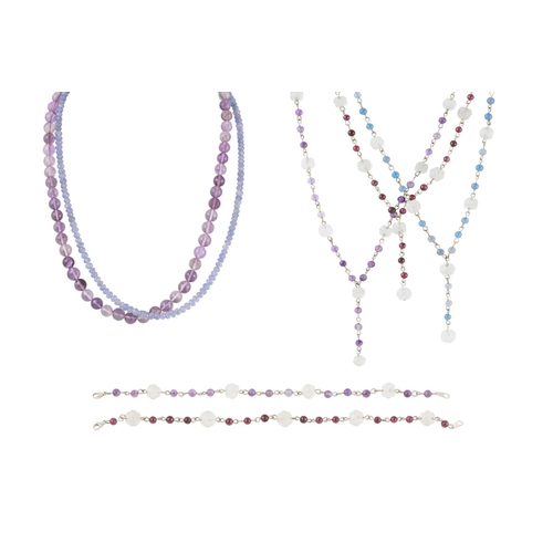 50 - A COLLECTION OF BEADED NECKLACES, silver fittings...
