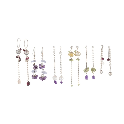 51 - A COLLECTION OF EARRINGS, silver fittings...