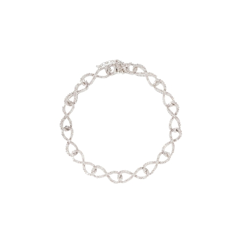 55 - A DIAMOND SET BRACELET, the diamond set links in figure of eight form, mounted in 9ct white gold...