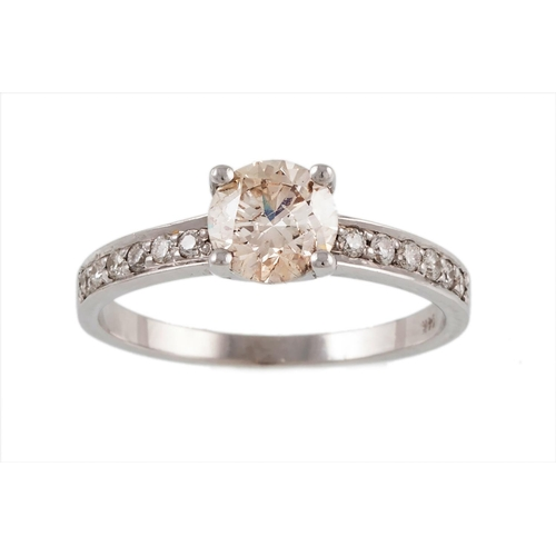 56 - A SOLITAIRE DIAMOND RING, with a diamond set band mounted in 14 ct white gold. Estimated weight of d...
