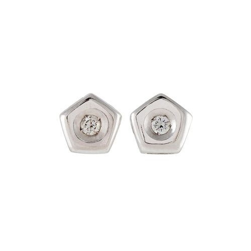 57 - A PAIR OF PENTAGONAL DIAMOND STUD EARRINGS, mounted in 18ct white gold, circa 6mm overall size. Esti...