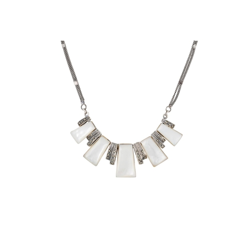 8 - A MOTHER OF PEARL AND MARCASITE NECKLACE, set in silver...