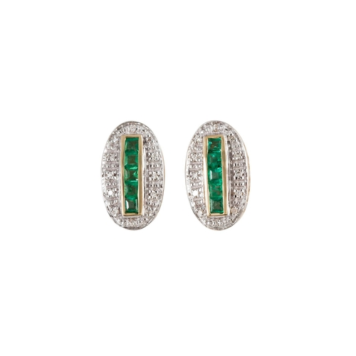 1 - A PAIR OF DIAMOND AND EMERALD CLUSTER EARRINGS, of oval form, the calibré emeralds to diamond surrou...
