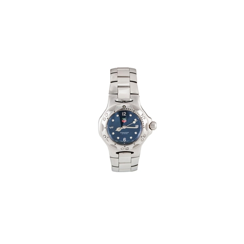 15 - A LADY'S STAINLESS STEEL TAG HEUER PROFESSIONAL WRIST WATCH, blue dial, date, bracelet strap, boxed...