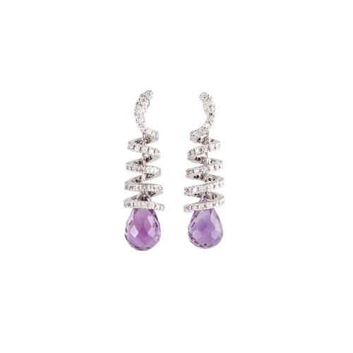 17 - A PAIR OF DIAMOND AND AMETHYST DROP EARRINGS, comprising diamond set spiralled panels suspending bri...