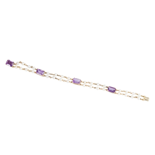 2 - AN AMETHYST AND SEED PEARL BRACELET, comprising four trap cut amethysts linked by seed pearl and cha...