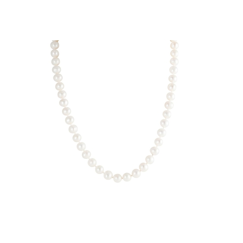 22 - A CULTURED PEARL NECKLACE, the uniform pearls to a 9ct gold clasp, the pearls measuring 7.8 - 8.2 mm...