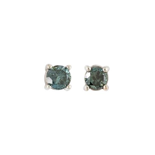 24 - A PAIR OF DIAMOND STUD EARRINGS, the fancy blue brilliant cut diamonds mounted in white gold. Estima...