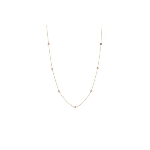 33 - A DIAMOND SET CHAIN, the brilliant cut diamonds collet set between rose gold chain links. Estimated;...